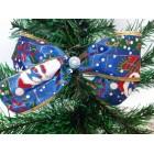 Новогоднее украшение Бант дед мороз синий 14*9 см