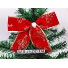 Новогоднее украшение Бант красный бархат 16*11 см
