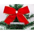 Новогоднее украшение Бант  красный  бархат 14*11 см
