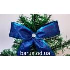 Новогоднее украшение Бант синий орнамент 14*9 см