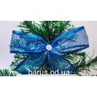 Новогоднее украшение Бант синий сетка  13*8 см