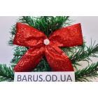 Новогоднее украшение Бант красный металлик  14*10 см