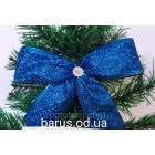 Новогоднее украшение Бант синий металлик  14*10 см