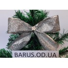 Новогоднее украшение Бант  серебро металлик  14*10 см