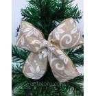Новогоднее украшение Бант золотисто-белый мешковина 16*15 см