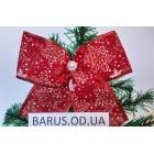 Новогоднее украшение Бант красный мешковина снежинка 16*15 см