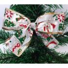 Новогоднее украшение Бант дед мороз белый 14*9 см