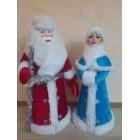 Набор  под елку Дед Мороз и Снегурочка статуэтки в плюшевой шубе