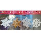 Новогодние силиконовые наклейки   Снежинки на окна размер 17*17 см в ассортименте