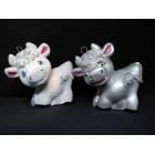 Новогодние игрушки на елку Бычок бархатный белый и серебряный 9*10 см
