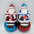 Новогодние игрушки на елку Дед Мороз на шаре 15,5*8 см