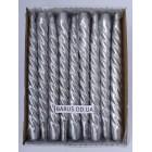 Новогодние Свечи декоративные перламутр серебро 45 штук