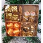 Новогодние игрушки на елку Набор Рождественский 4в1 золотой