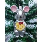 Новогодние игрушки на елку Мышь серая 12 см*7 см