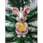 Новогодние игрушки на елку  Мышка белая 12 см*7 см