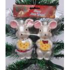 Новогодние игрушки  на елку Мышки пара белые 12 см*7 см
