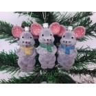 Новогодние игрушки  на елку Мышь маленькая бархатная 10 см*6 см