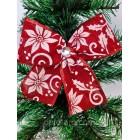 Новогоднее украшение Бант красный мешковина орнамент 15*16 см