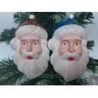 Новогоднее украшение на елку Дед Мороз голова 14 см*9 см