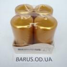Свечи декоративные столбик Биспол золотой размер 80*40 мм 4 штуки